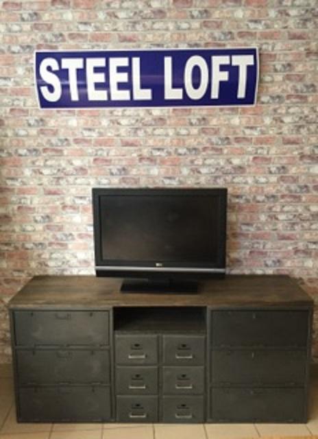 Meuble industriel télé tv origine armée Française steel-loft-paris.com