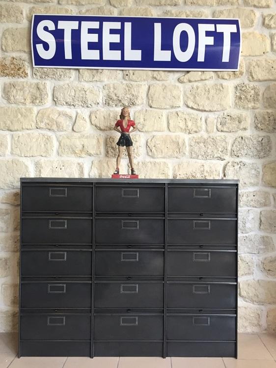 mobilier industriel meuble clapets roneo chaussures steel loft paris 3x5s ron o clapets steel. Black Bedroom Furniture Sets. Home Design Ideas