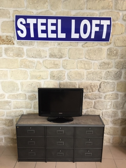 Meuble tele 9 clapets roneo annees 50 steel loft paris - Meuble tv annee 50 ...