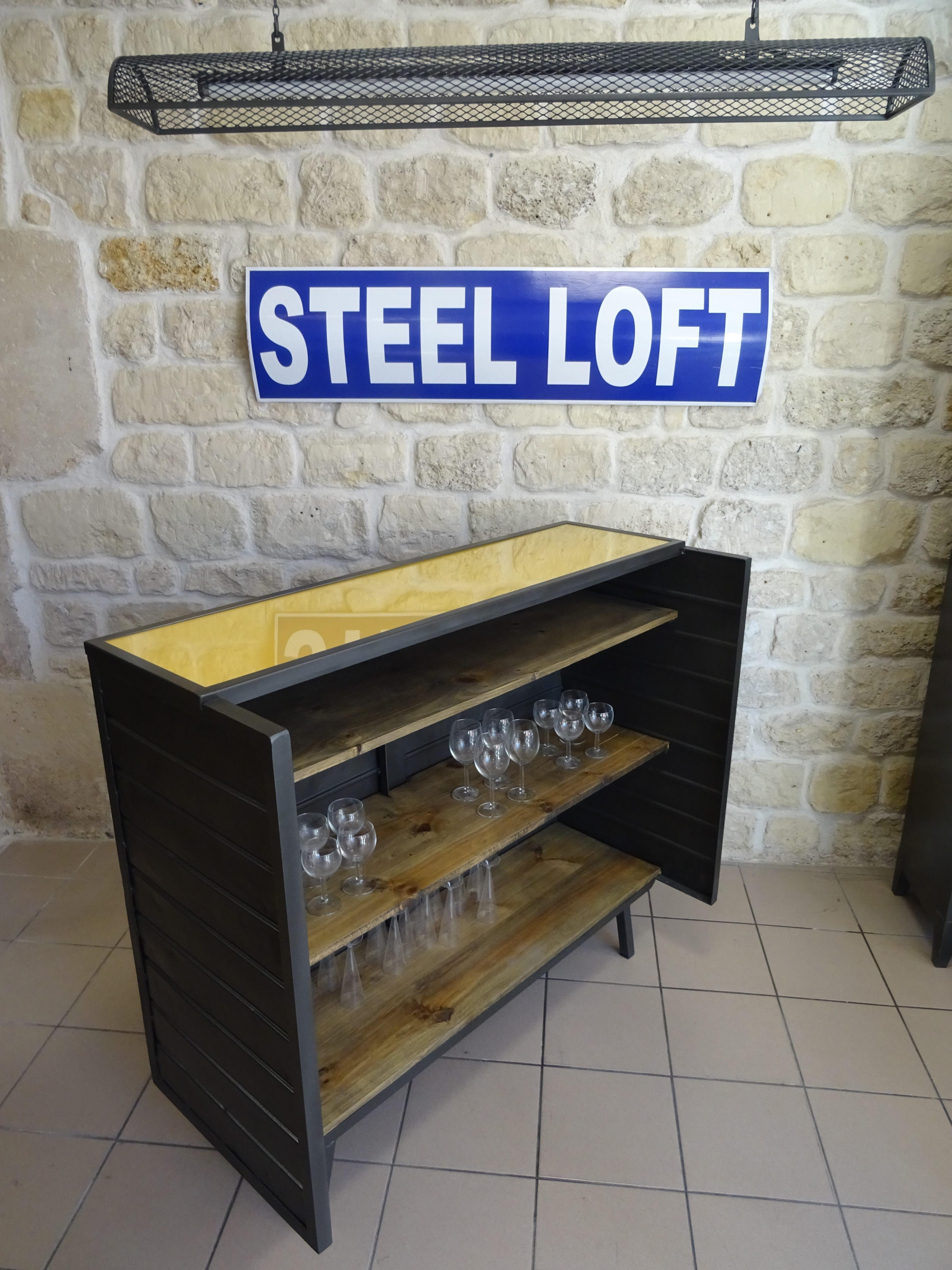 bar industriel ancien chariot de filature steel loft paris. Black Bedroom Furniture Sets. Home Design Ideas