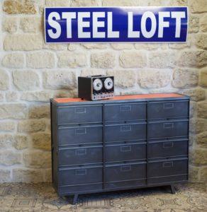 meuble chaussure industriel casiers Roneo steel loft paris